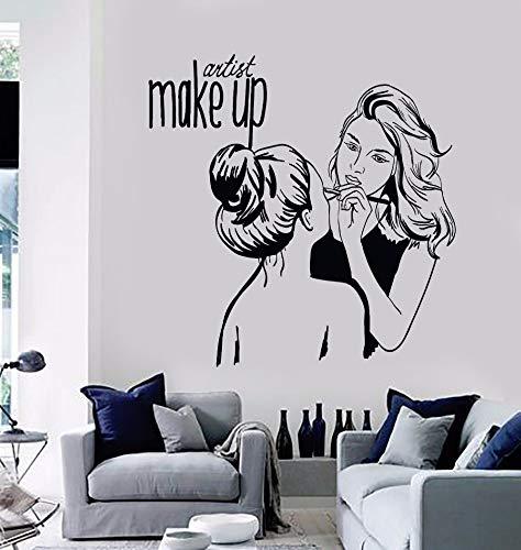 Wanghan Vinilo Tatuajes De Pared Maquillaje Artista Etiqueta De La Pared Salón De Belleza Cosmética Decoración Mural Extraíble Make Up Shop Cartel De La Pared 57X58
