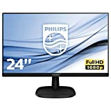 "Philips 243V7QJABF Monitor 24"" LED IPS FHD, 4 ms, 3 Side Frameless, Low Blue, Flicker Free, HDMI, Display Port, VGA, Casse Integrate, Attacco VESA, Nero"