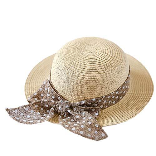 Geekcook Unisex Gorra de,Sombreros de Verano para niños Sombrero de Paja Bowknot Beach Sombreros de protección Solar para niñas-Caqui_52