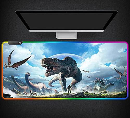 Mauspads Ark Survival Evolved RGB Gaming Mauspad Extended LED Glowing Mousepad rutschfeste Gummibasis für Laptop PC 900x400x4mm