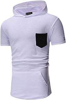 Ptyhk RG Men Slim Fit Casual Short Sleeve Big-Pocket Tops Contrast Color Hoodies T-Shirt