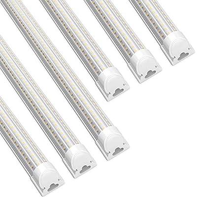 Barrina LED Shop Light, 45W 5000K 6000LM, 4FT T8 Integrated Fixture, D-Shape,LED Light Tube, Daylight White, Clear Cover, High Output, Stop Lights for Garage,Warehouse,Workshop Basement(Pack of 6)