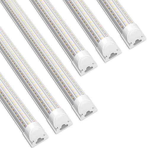 Barrina LED Shop Light, 90W 5000K 12000LM, 8FT T8 Integrated Fixture, D-Shape,LED Light Tube, Daylight White, Clear Cover, High Output, Stop Lights for Garage,Warehouse,Workshop Basement (Pack of 6)