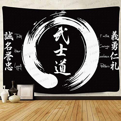 F-FUN SOUL The 7 Virtues of Bushido Tapisserie, groß, 203,2 x 152,4 cm, weiches Flanell, schwarz und weiß, japanische Kunst Wandbehang für Schlafzimmer Wohnzimmer Dekor GTZYFS1074