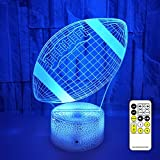 Football Night Lights for Kids, 3D LED Illusion Lamp 7 Colors Changing Nightlight with USB Powered, Touch & Remote Control Best Birthday Christmas Gifts for Boys Girls Kids Baby