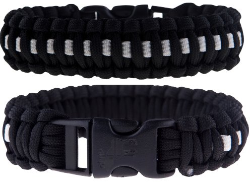 """The Friendly Swede Bracelets 8"""" (Medium) - 7/8"""" Buckle, 4-Strand Core, 11.8 Feet, 7 Inner Yarns - Thin Blue/Red/White Line - Retail Packaging"""