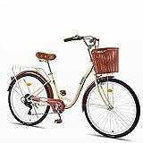 ZXLLO Bicicleta De Mujer De 24 Pulgadas con La Cesta 7 Velocidades Bicicleta De Ciudad para Damas Diseño Retro Bicicleta para Mujeres 16 Kg
