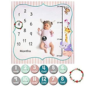 ANBET Bebé Manta Mensual Hito, Fotografía de Fondo para recién Nacidos Pegatinas y Corona mensuales para niños niñas - 120 × 120 cm
