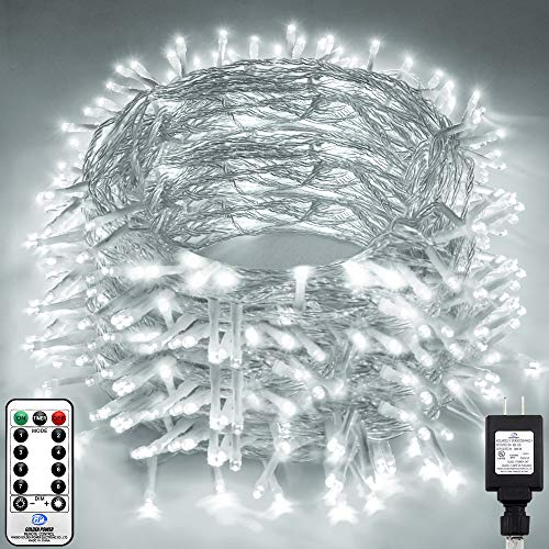 KNONEW LED String Light 1000 LED 394ft Long Christmas Lights with 8 Modes & Timer, Indoor Outdoor Plug in Fairy Lights for Home Christmas Wedding Party Room Yard Tree Holiday Decorations (Cool White)
