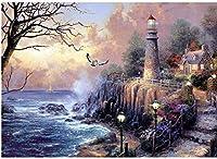 DMFNGJSD 数字油絵 フレーム付き 、数字キット塗り絵 手塗り DIY絵-沿岸灯台-デジタル油絵 40x50 cm