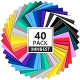"""ImnBest-40 Láminas de vinilo, con respaldo adhesivo permanente, 30 láminas de vinilo 12"""" x 8"""",surtidos para máquinas de corte(20 colores)"""