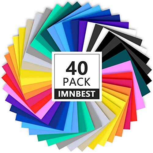 ImnBest-40 Láminas de vinilo, con respaldo adhesivo permanente, 30 láminas de vinilo 12' x 8',surtidos para máquinas de corte(20 colores)