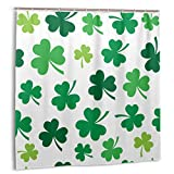 Foruidea Happy St.Patrick 's Day Green Lucky Cortina de ducha de poliéster impermeable 12 ganchos tela moderna baño decoración del hogar Set 175 x 172 pulgadas