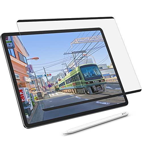 NIMASO ペーパー 紙 ライク フイルム 着脱式 iPad Pro 12.9 用 フィルム ( 2021 第5世代 / 2020 第4世代 / 2018 第3世代 ) ケント紙タイプ 保護 フィルム アンチグレア 紙のような描き心地 反射低減 装着し放題 浮き沈み無し NTB21G255