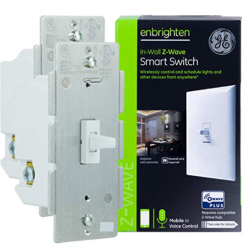 GE 47888 Enbrighten Z-Wave Plus Smart Light Switch, Works with Alexa, Google Assistant, SmartThings, Zwave Hub Required, Repeater/Range Extender, 3-Way Ready, 1st Gen. Toggle, White 2-pack