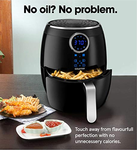 Gourmia Digital Air Fryer 5 QT / 4.7 Liter Capacity with Digital Touch LCD Display, RadiVection 360° Heat Circulation Technology and 2-tiered Cooking Racks