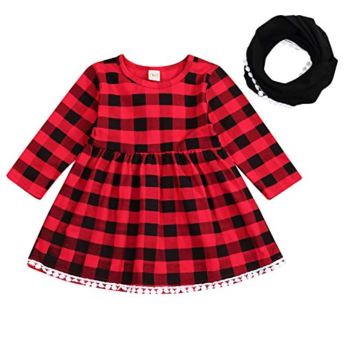 Niño Bebé Niños Niña Cuadros De Navidad Encaje Cuadros De Manga Larga Fiesta Princesa Tutú Vestidos Bufanda Ropa Set - - 12-24 meses