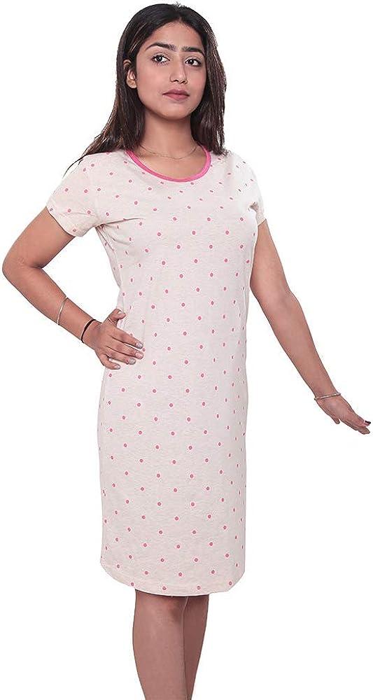 HIFZAA Women's Nightgown specialty shop Short Sleeve Sleep Shir New York Mall Sleepwear Comfy