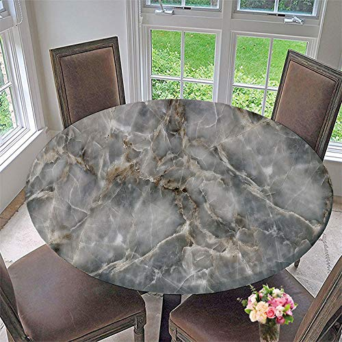 SUPNON Elastic Edged Waterproof Table Cover Tablecloths Kitchen Decor, Fits for Round Tables - Stone Marble Texture Design Element SW04649 47'