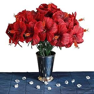 Efavormart 60 pcs Artificial Hibiscus Flowers for DIY Wedding Bouquets Centerpieces Party Home Decorations – 12 Bushes – Red