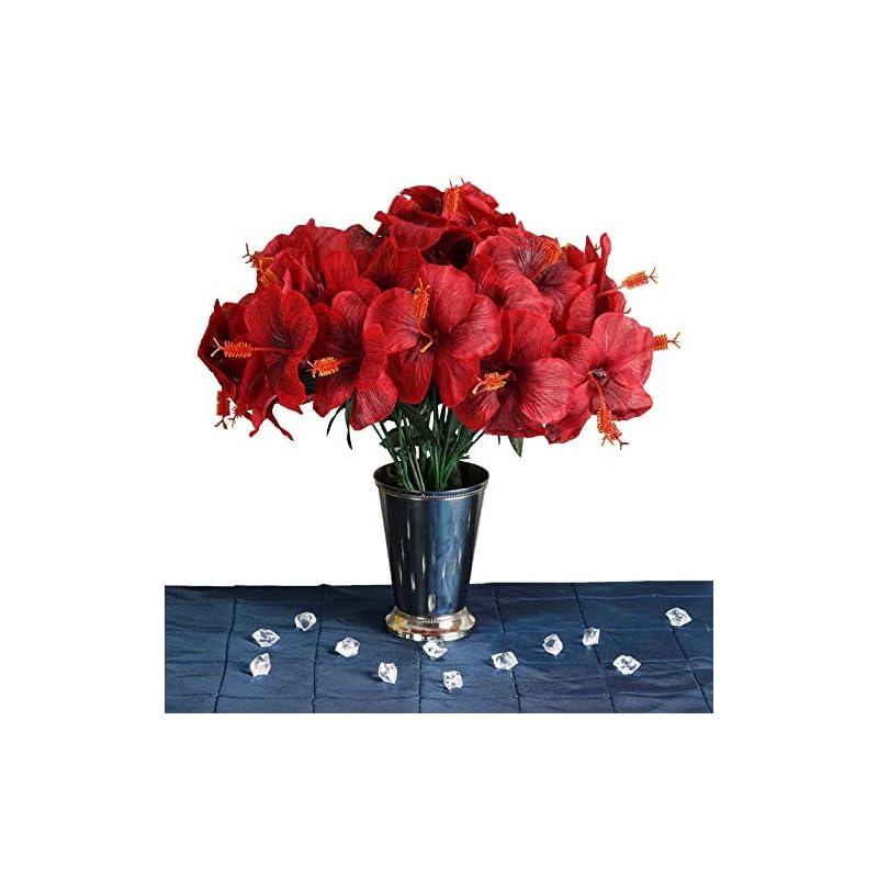 silk flower arrangements efavormart 60 pcs artificial hibiscus flowers for diy wedding bouquets centerpieces party home decorations - 12 bushes - red