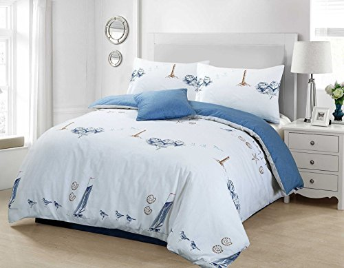 BEACHCOMBER DUVET QUILT COVER NAUTICAL BOAT SHIP LIGHTHOUSE SEA BIRDS SHELLS BEDDING SET - BLUE (Double)