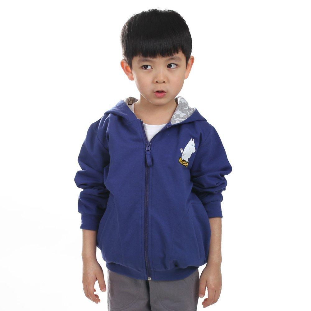 MOOMINムーミンフィンランドのブランドの子供服の男の子のフード付きのジッパーのセーターの男の子の長袖の綿のカジュアルなジャケット春と秋