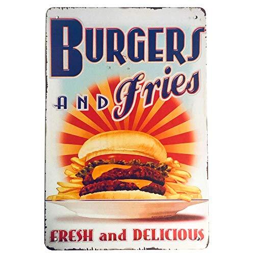 HOGARO Retro Vintage Blechschild 20 x 30 cm Burgers and Fries BBQ Nostalgie Diner Metallschild Schild Deko Schilder USA