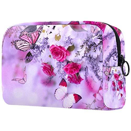 Trousse de toilette pour femme Motif papillons et roses