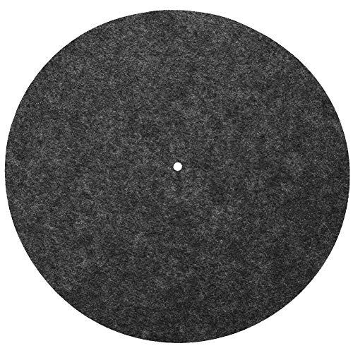 VGEBY1 Plattenteller Matte, Wolle Anti-Vibration Plattenspieler Kissen Pad für Schallplattenspieler Audiophile Pad Zubehör(Schwarz)