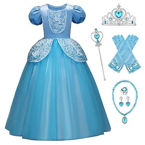 O.AMBW Traje de Cenicienta Azul para Nia Infantil Vestido Cinderella Fiesta de Cumpleaos Atuendo Princesa ELA Cosplay Cenicienta Disfraz Cenicienta Carnaval Conjunto Regalo 6 Complementos
