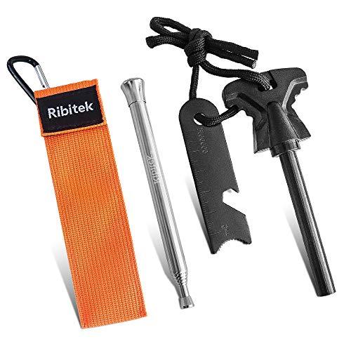Ribitek 火吹き棒+火打ち石 ファイヤースターター 火吹き コンパクトなひふき棒 伸縮式 耐久性 大きいサイズのマグネシウム棒 メタルマッチ 着火具 キャンプ用品 安全対策