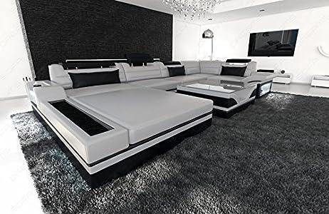 Lujo Conjunto de Muebles Para Salón Mezzo forma de U moderno sofá de diseño con LED Gris - Negro