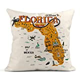 Emvency Decor Flax Throw Pillow Covers Case Cartoon of Florida Map with Tourist Attractions Travel Miami Drawn Hand Orlando 18'x18' Square Linen Cases Cushion Cover One Side Print