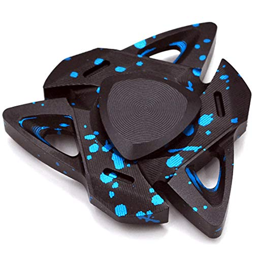 Hand Spinner Triangular Design Metal Fidget Spinner Fidget Gyro Toy EDC Focus Meditation Break Bad Habits ADHD with Premium Bearing (Blue)