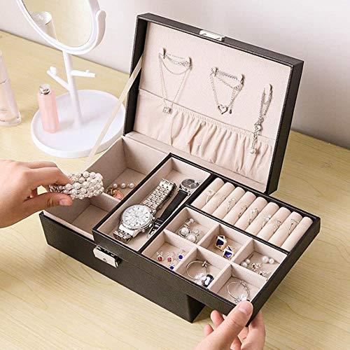 Travel Large Jewelry Box,PU Storage Organizer for Necklace Bracelet Earring Case