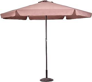 COSTWAY Sombrilla de Jardín de Hexágono 3M Parasol para Piscina Playa Terraza Protección Solar UV (Marrón)