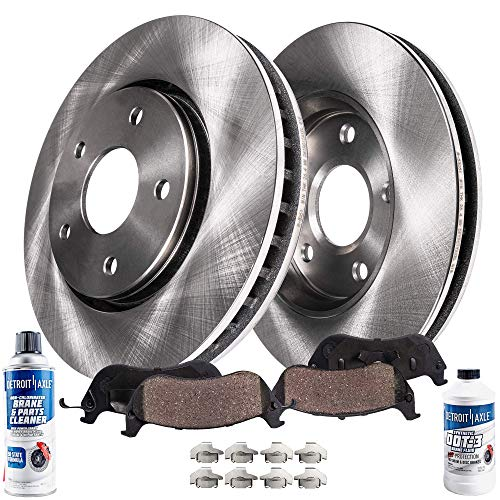 Detroit Axle - Pair (2) Front Disc Brake Kit Rotors w/Ceramic Pads w/Hardware & Brake Kit Cleaner & Fluid for 2002 2003 2004 2005 Dodge Ram 1500 - [2004-2006 Dodge Durango]