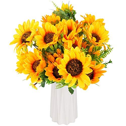 Beferr 2 Bunches Artificial Sunflower Bouquet, Fake Silk Sunflower Flowers,...