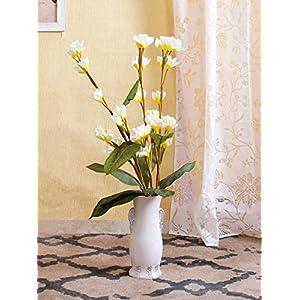 Indian Decor & AttirePolyester Fabric and Plastic Artificial Frangipani Flower Sticks (10 cm x 10 cm x 110 cm, Cream, Set of 3)