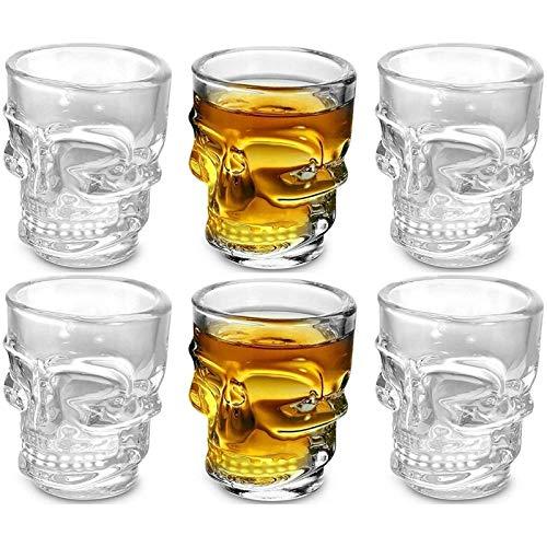 Vidrio Juego De 6 Vasos Transparentes De Whisky Con Cara De Calavera, Vasos De Chupito Con Calavera De Halloween, Cristalería Para Brandy, Licor, Copa De Gelatina De 1,7 Oz