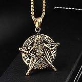 JJZCSXH Gótico Plata Oro Cráneo Estrella de Cinco Puntas Colgante Satánico Collar Estilo Punk Rock Colgante Redondo para Hombres Joyería de Moda,Gold