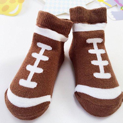 Zachte Cartoon Pasgeboren Baby Jongen Katoen Enkel Peuter Korte Schoenen Sokken Honkbal Dagelijks gebruik Trek aan Sluiting Bruin