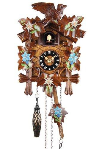 Eble - Reloj de cuco de 22cm de madera auténtica pintada, con sonido, funcionamiento a pilas y mecanismo de cuarzo
