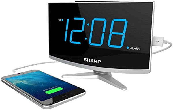 Sharp Jumbo LED Curved Display Alarm Clock Black With USB Port