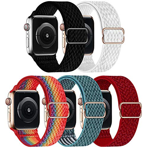 GBPOOT 5 Packs Nylon Stretch Band Compatible with Apple Watch Bands,Adjustable Soft Sport Breathable Loop for Iwatch Series 6/5/4/3/2/1/SE,Black/White/Colorful/CelestialTeal/Red,38/40mm