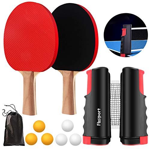 FBSPORT Tischtennis Set, 2 Tischtennisschläger, 1 Einziehbarem Netz, 6 Tischtennis-Bälle, 1 Tragetasche, für Trainer Erwachsene Kinder Indoor Outdoor