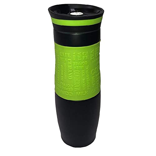 Vacuum Insulated Travel Mug, Thermal Flask, One Handed Open to Drink, Double Walled and Leakproof for Hot and Cold Drink (480 ml, 16.9 Ounces) (Green)