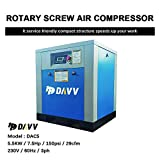 HPDAVV Rotary Screw Air Compressor 7.5HP / 5.5KW - 29-25CFM @ 125-150PSI - 230V/ 1-Phase/ 60Hz - Variable Speed Drive - NPT1/2' Skid Industrial Air Compressed System with Built-in Oil Separator