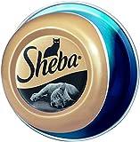 Sheba Feine Filets – Getreidefreies Nassfutter für Katzen als besonderer Snack – Saftige Filets aus Thunfisch – 24 x 80g Katzennahrung in der Schale